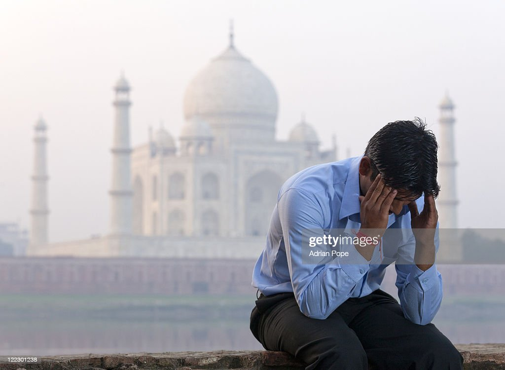 Businessman & Taj Mahal : Stock Photo