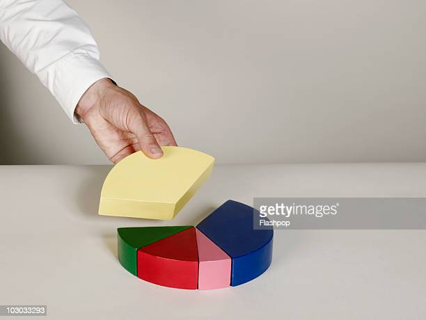 Businessman taking a piece of pie chart