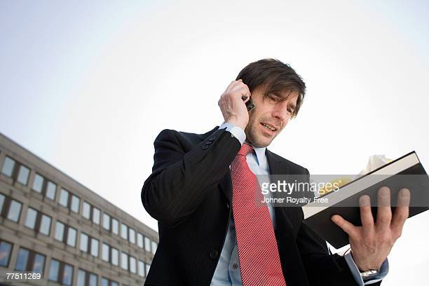 Businessman talking in his mobile phone Stockholm Sweden.