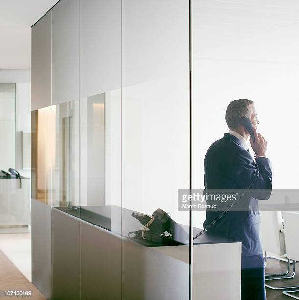 businessman talking on cell phone in conference room - fastnät bildbanksfoton och bilder