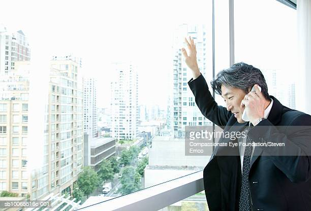 """businessman talking on phone and looking out window - """"compassionate eye"""" stock pictures, royalty-free photos & images"""