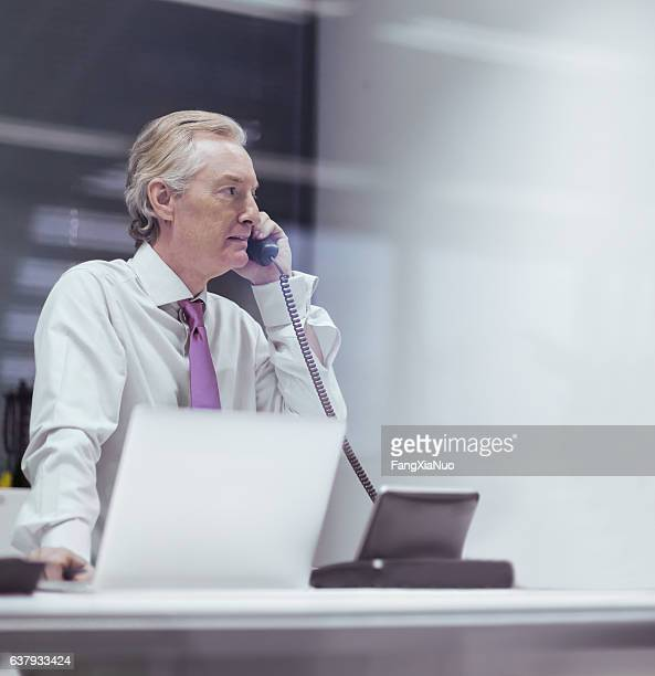 Businessman talking on phone in business office