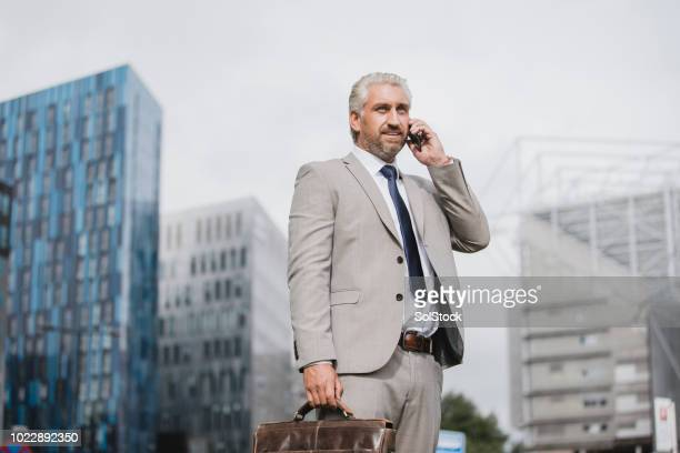 businessman talking on the phone - st. james' park newcastle upon tyne stock pictures, royalty-free photos & images