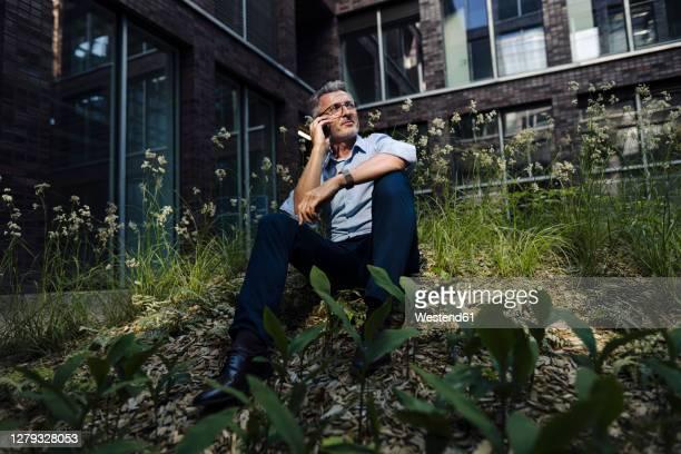 businessman talking over smart phone while sitting amidst plants against building - umweltschutz stock-fotos und bilder