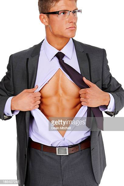 Businessman Tearing Open His Shirt