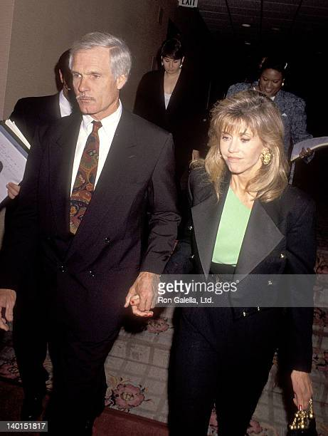 "Businessman Ted Turner and actress Jane Fonda attend the Planned Parenthood's ""Freedom of Choice, Freedom of Speech"" Award Salute to Candice Bergen,..."
