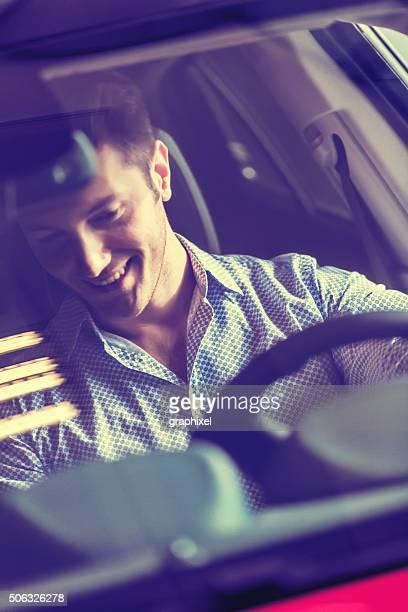 Businessman Testing New Car
