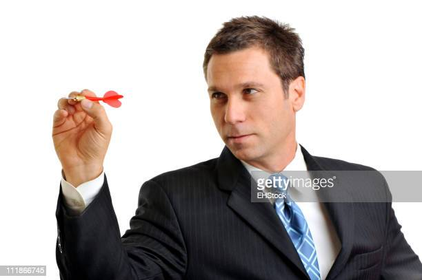 Businessman Throwing Dart Isolated on White Background