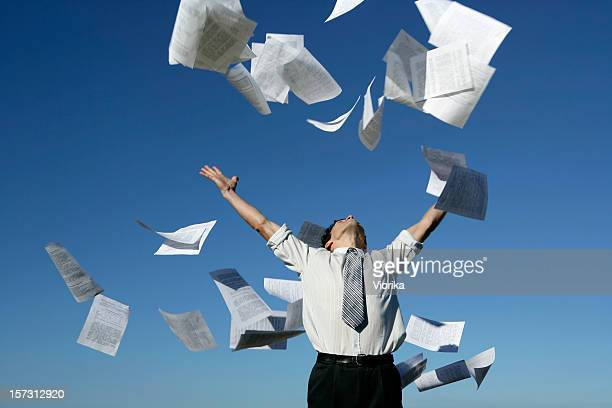 businessman throwing papers - flying stock photos and pictures