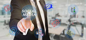 businessman touching  social media components on digital screen