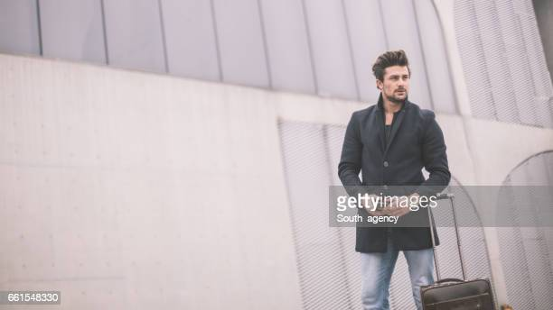 Businessman traveling alone