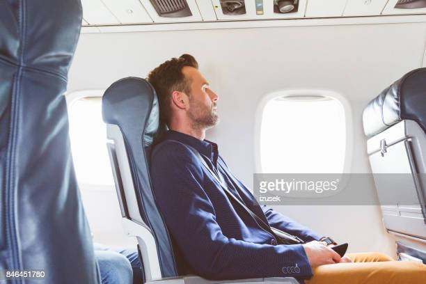 Businessman traveling by flight