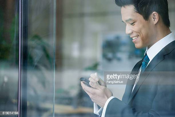 Businessman using a pda