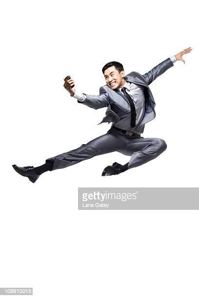 businessman using cellphone - 背広 ストックフォトと画像