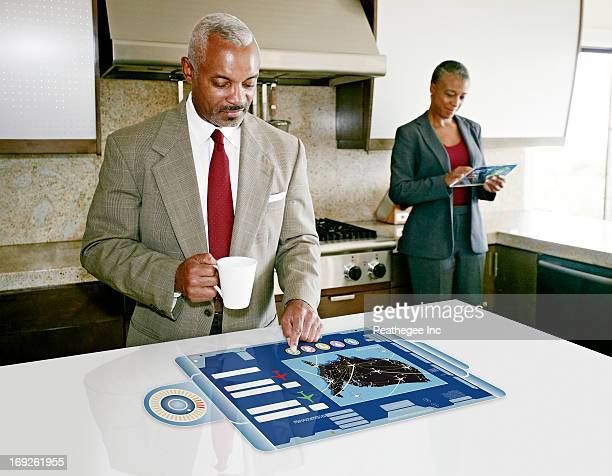Businessman using computer in table