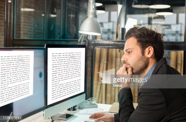 businessman using computer - authors foto e immagini stock