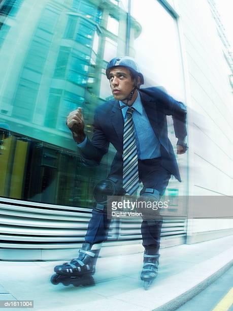 Businessman Using Inline Skates