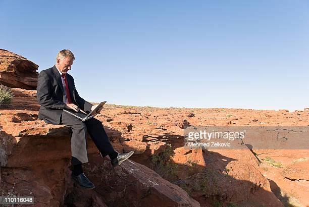 Businessman using laptop in desert