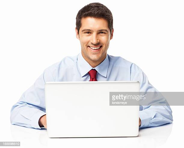 Businessman Using Laptop - Isolated