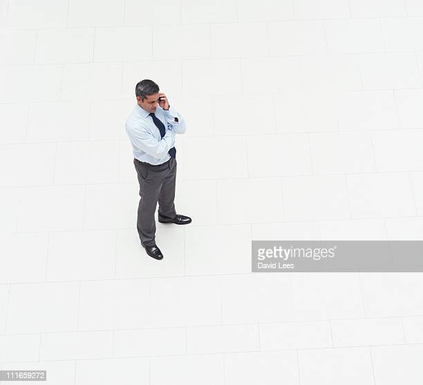 Businessman using mobile, elevated view