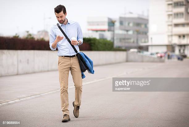 Businessman using modern technology