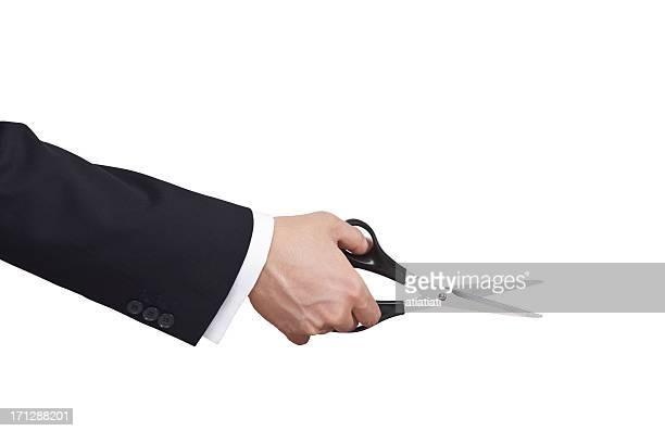 businessman using scissors