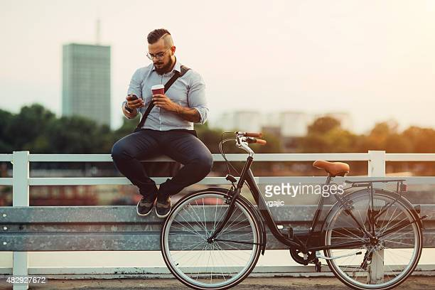 Businessman Using Smartphone Outdoors.