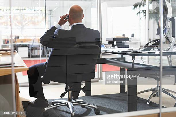 Businessman using telephone  in office, rear view