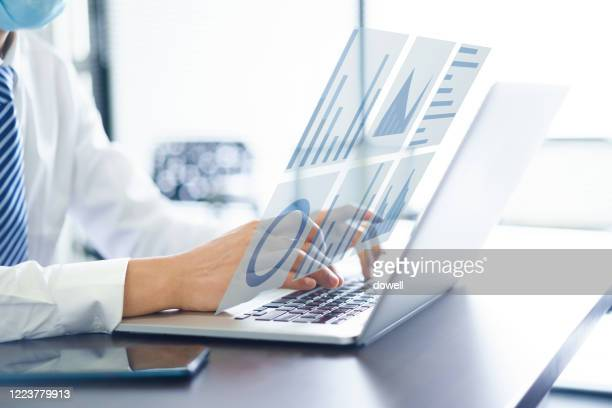 businessman using virtual visual screen - big data screen stock pictures, royalty-free photos & images