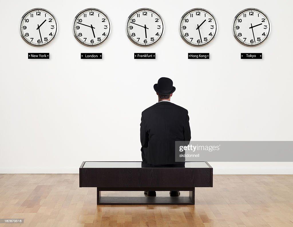 Businessman waiting for something : Stock Photo