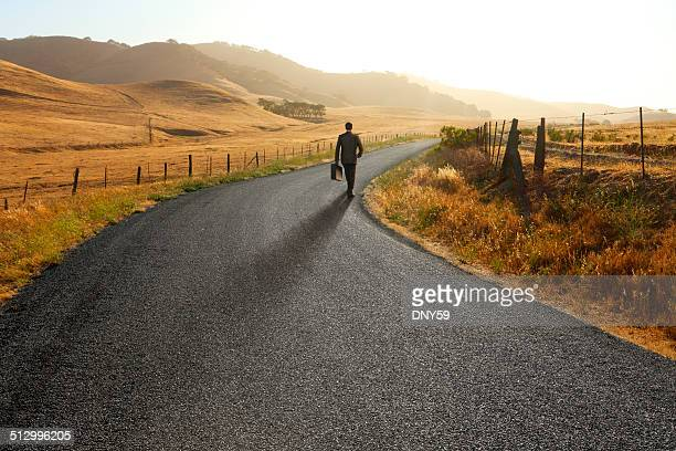 Businessman walking down curving rural road