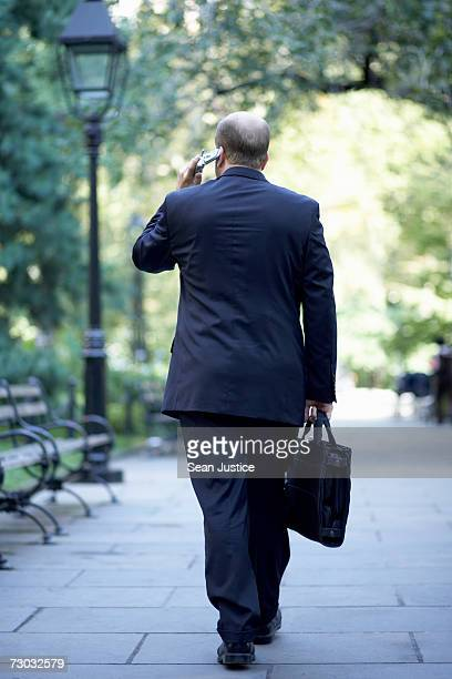 Businessman walking down street using mobile phone, rear view