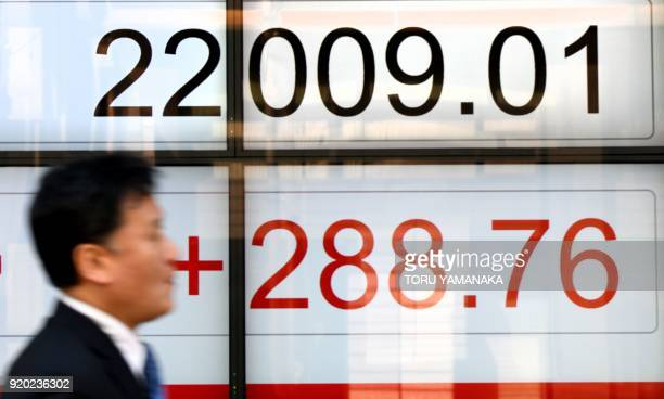 A businessman walks past a stock quotation board flashing the Nikkei 225 key index of the Tokyo Stock Exchange in front of a securities company in...