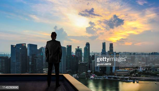businessman watching the city on the rooftop of skyscraper - skyscraper foto e immagini stock