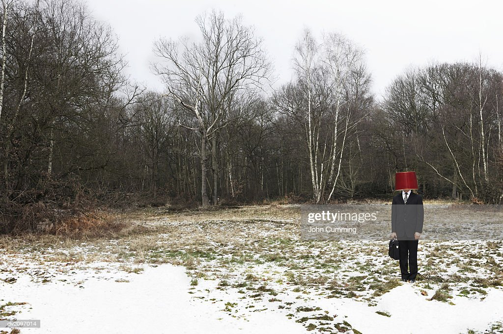 Businessman Wearing a Lamp Shade on His Head in a Forest : Stock Photo
