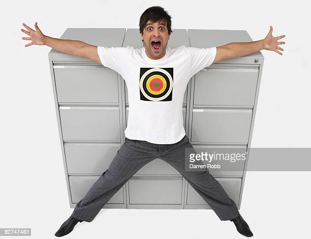Businessman wearing a t-shirt with a target sign