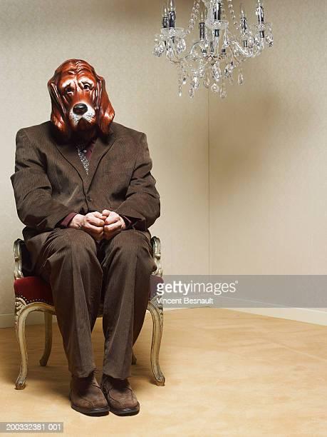 Businessman wearing dog mask sitting under chandelier