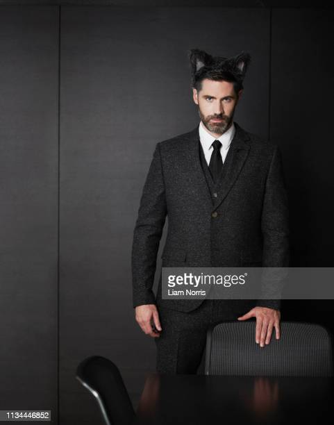 businessman wearing fancy dress ears - cat costume stock photos and pictures