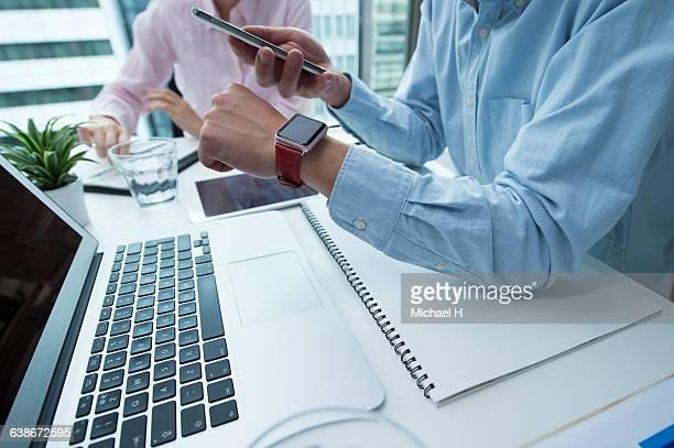 Businessman wearing smartwatch