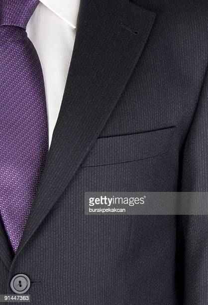 businessman wearing suit, mid section, full frame, close-up - purple shirt stock photos and pictures