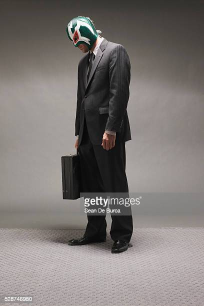Businessman Wearing Wrestling Mask