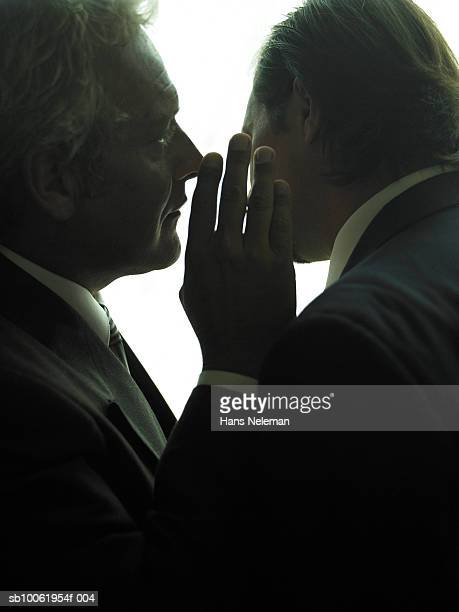 businessman whispering another businessman, close-up - 陰謀 ストックフォトと画像