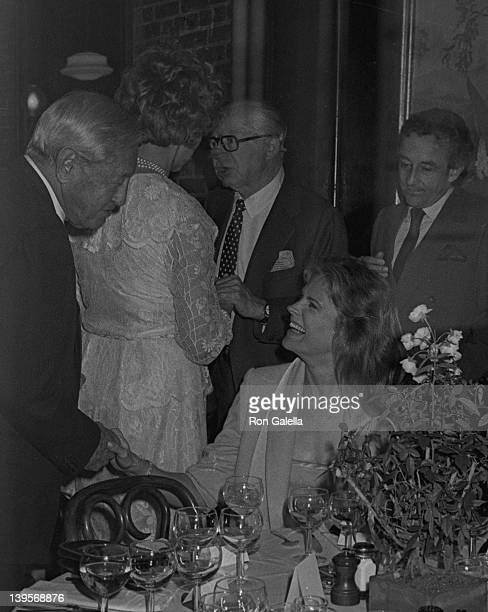 Businessman William Paley actress Candace Bergen and directors Billy Wilder and Louis Malle attend Swifty Lazar Party for Billy Wilder on May 6 1982...