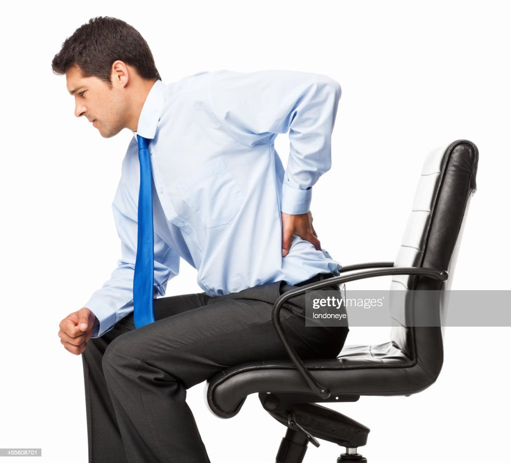 Businessman With Backache - Isolated : Stock Photo