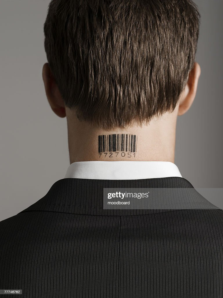 Barcode Tattoo Neck Businessman With Barco...