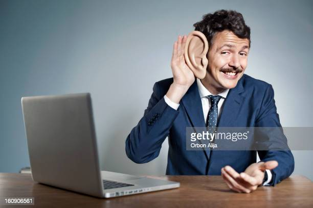 businessman with big ear - ear stock pictures, royalty-free photos & images