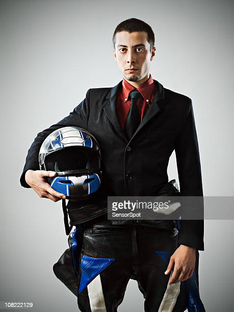 Businessman with biker suit