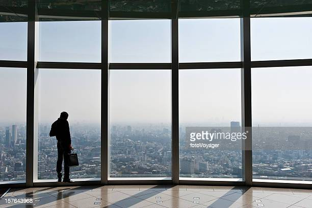 Businessman with briefcase looking over city through big windows Japan