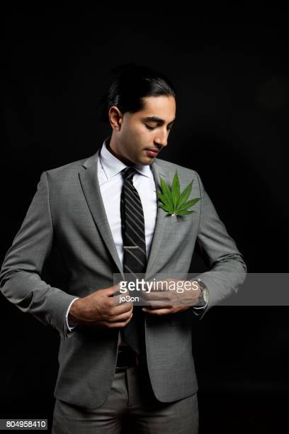 Businessman with cannabis sativa leaf in suit jacket breast-pocket