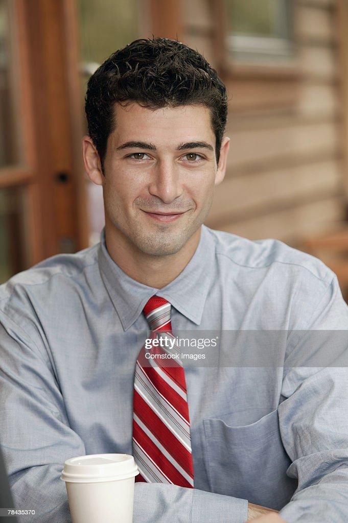 Businessman with coffee : Stockfoto